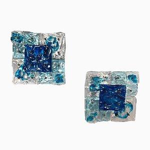 Apliques Patchwork italianos de cristal de Murano de Toni Zuccheri para Venini, años 70. Juego de 2