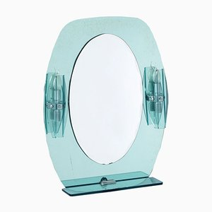 Mid-Century Wall Mirror with Lights & Shelf by from Fontana Arte, 1960s