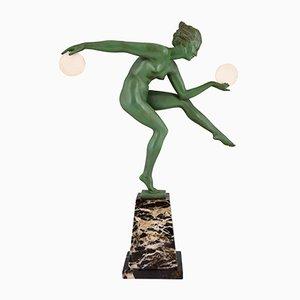 Sculpture Art Déco d'une Danseuse Nue par Marcel Bouraine pour Max Le Verrier, 1930s
