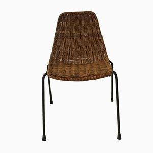 Italian Iron and Rattan Children's Chair, 1950s