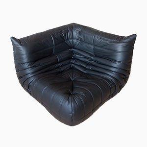 Sofá esquinero Togo vintage de cuero negro de Michel Ducaroy para Ligne Roset