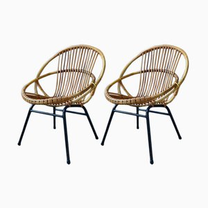Rattan Side Chairs by Rohé Noordwolde, 1960s, Set of 2