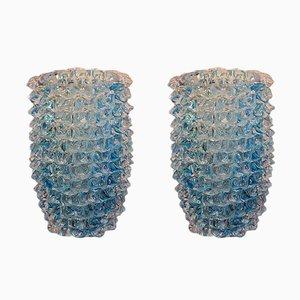 Jarrones de cristal de Murano en azul con puntas, años 80. Juego de 2