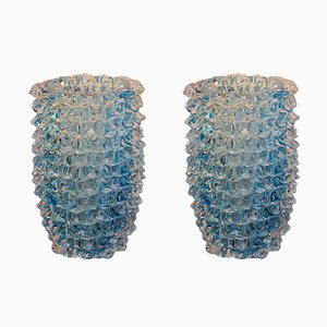 Vasi in vetro di Murano blu con punte, anni '80, set di 2