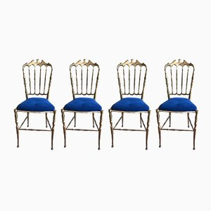 Vintage Brass Chiavari Chairs, 1950s, Set of 4