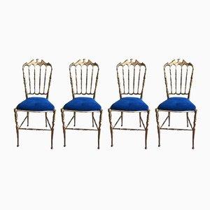 Vintage Chiavari Stühle aus Messing, 1950er, 4er Set
