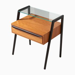 Two-Tone Wood & Glass Side Table, 1950s