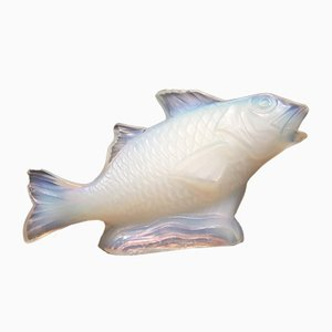 Opalescent Glass Carp Sculpture from Sabino, 1930s