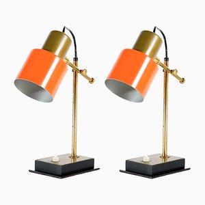 Lámparas de mesa italianas Mid-Century de latón de Casey Fantin, años 50. Juego de 2