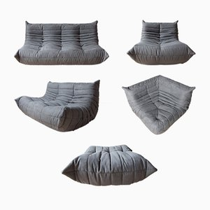 Grey Microfibre Togo Living Room Set by Michel Ducaroy for Ligne Roset, 1970s