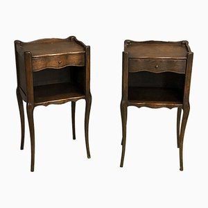 Louis XV Style Oak Nightstands, 1950s, Set of 2