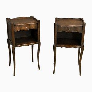 Tables de Chevet Style Louis XV en Chêne, 1950s, Set de 2