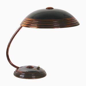 Art Deco Copper & Enamel Desk Lamp from HELO Leuchten, 1950s