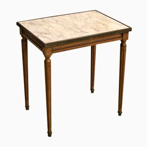 Antique Louis XVI Style Cherry & Marble Side Table