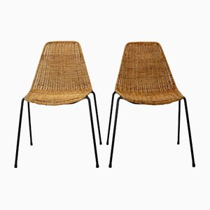 Mid-Century Modern Rattan Basket Side Chairs by Gian Franco Legler for J. Bally, Set of 2
