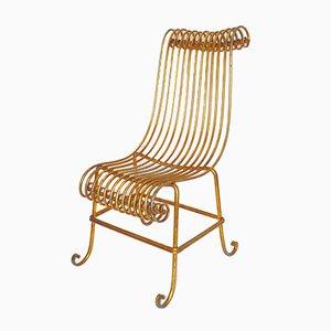 Chaise Vintage en Métal Doré, Italie