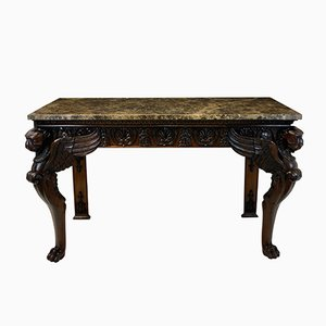 English Mahogany & Marble Top Console Tables, 1920s, Set of 2