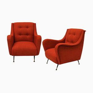 Mid-Century Sessel in gebranntem Orange, 2er Set