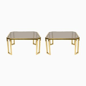 French Octagonal Brass & Glass Table from Maison Jansen, 1970s