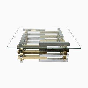 Mesa de centro de vidri, latón y cromo de Pierre Cardin, años 70