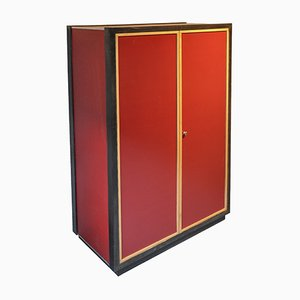Red and Black Modernist Pavatex Cabinet by Kurt Thut