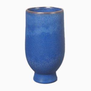Blaue Keramikvase von Glatzle für Karlsruher Majolika, 1956