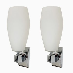 Italian Chromed Metal & Opaline Glass Articulated Sconces from Inda, 1970s, Set of 2
