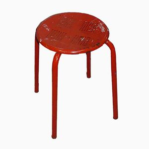 Vintage Industrial Red Painted Metal Stool, 1980s