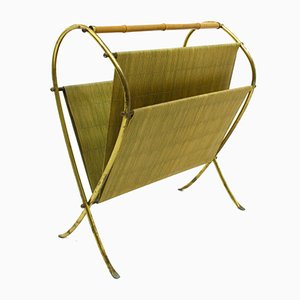 Brass & Bamboo Magazine Rack, 1960s
