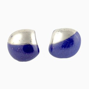 Dark Blue and Platinum La Traviata Earrings by Maria Juchnowska, 2015
