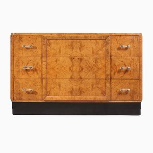 Art Deco Burr Maple Chest of Drawers, 1920s