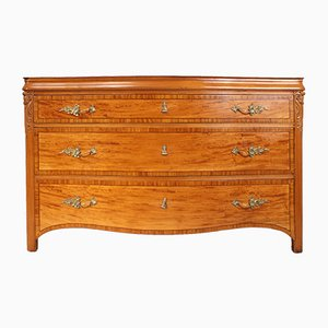 Antique Satinwood Serpentine Chest of Drawers, 1890s
