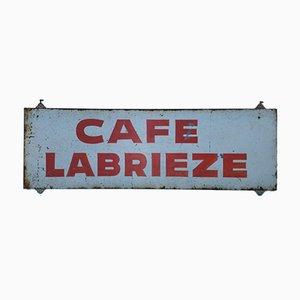 Panneau Publicitaire Cafe Labrieze Vintage en Étain, 1950s