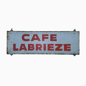 Señal publicitaria vintage Cafe Labrieze de estaño, años 50