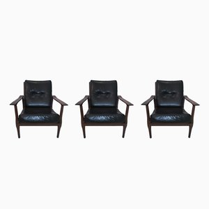 Skandinavische Sessel mit Gestell aus Teak, 1960er, 3er Set