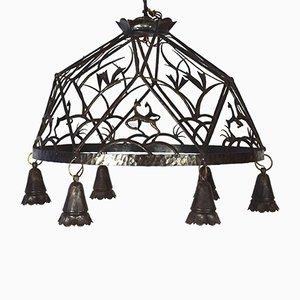 Lámpara de araña Art Déco grande, años 20
