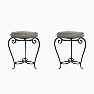 French Wrought Iron Stools, 1950s, Set of 2