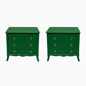 Vintage Green Lacquered Chests, Set of 2