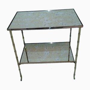Table Basse en Bronze & en Faux Bambou de Maison Bagues, 1960s