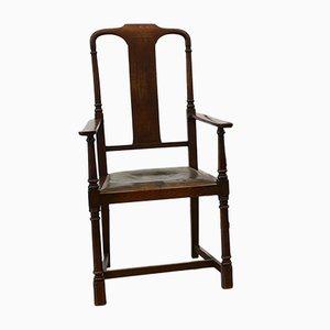 Chaises de Salle à Manger Arts & Crafts Antiques en Chêne et Cuir, Set de 6