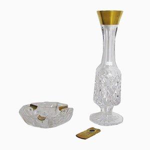 Vase & Aschenbecher aus Kristallglas & Messing, 1960er
