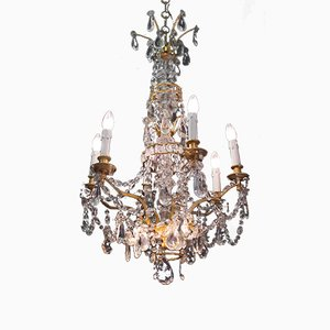 Antique Gilt Bronze And Crystal 9-Light Chandelier