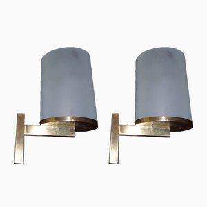 Lampade da parete in ottone e vetro di Perzel, anni '40