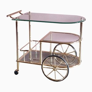 Vintage Brass & Glass Serving Bar Cart, 1970s