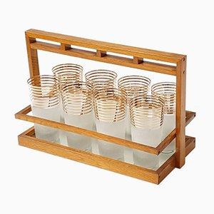 Verspiegeltes französisches Mid-Century Serviertablett & 8 Gläser, 1950er