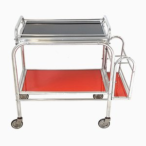 Mid-Century French Aluminium & Glass Trolley, 1950s