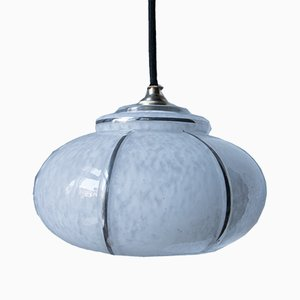 White Opaline Glass Pendant Lamp from Cristallerie de Clichy, 1940s