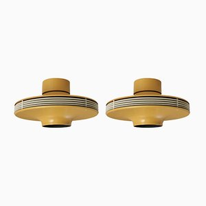 Finnish Model 7175 Flush Mount Ceiling Lights by Valto Kokko for i-Valo, 1970s, Set of 2