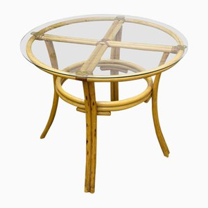 Round Spanish Rattan Table, 1970s