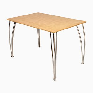 Italian Wood & Chromed Steel Table by Piero Lissoni, 2000s